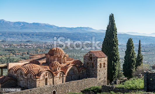 Greece. Peloponnese. Sparta. The Mystras Castle. Orthodox church in the Mystras Castle complex
