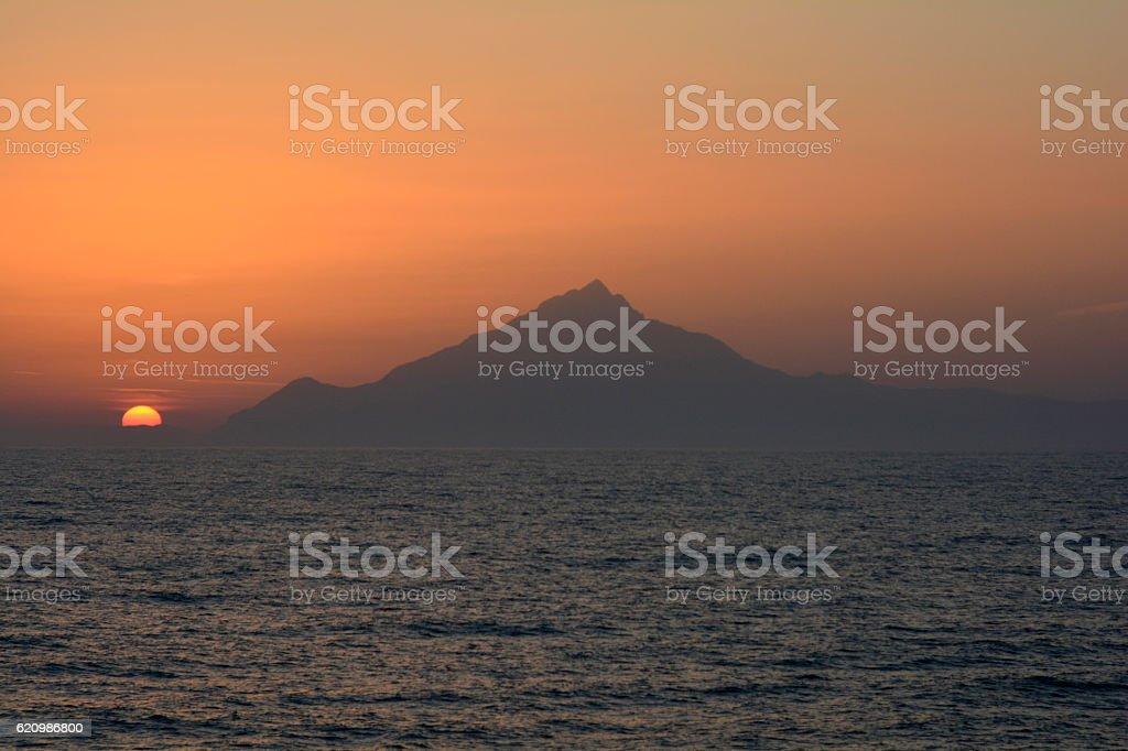 Grécia, o pôr-do-sol foto royalty-free