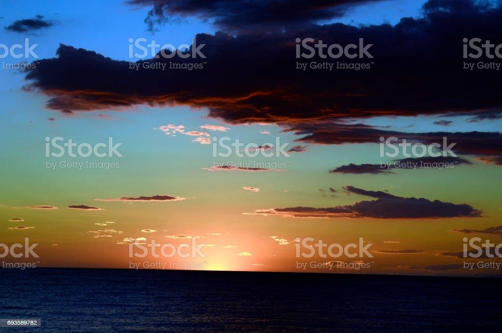 Greece, sunset over aegean sea stock photo
