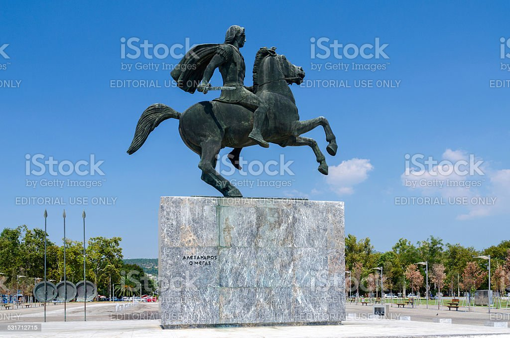 Greece, Thessaloniki. Monument to Alexander the Great on the waterfront stock photo