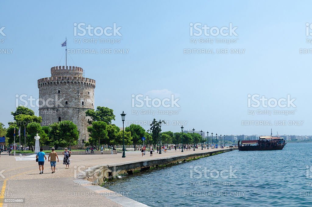 Greece, Thessaloniki, White Tower on the waterfront stock photo