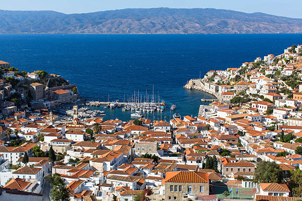 Greece - top view of city center and yaht marina. Hydra island, Greece - top view of city center and yaht marina. rymdraket stock pictures, royalty-free photos & images