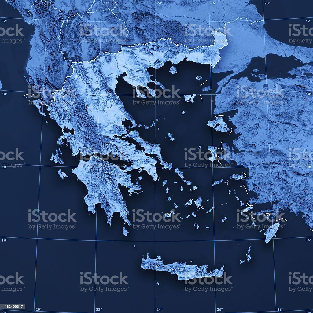 Greece Topographic Map royalty-free stock photo