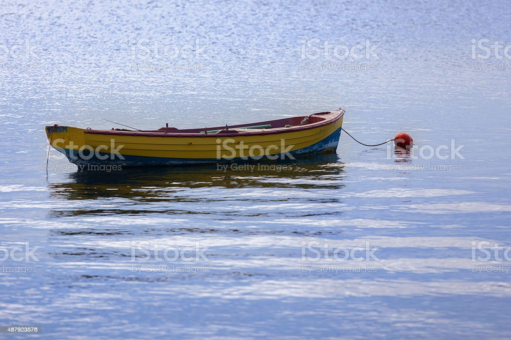 Greece Tranquil scene old boat stock photo