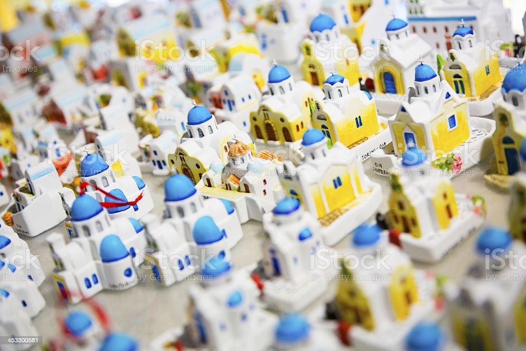 Greece white church souvenirs, Santorini stock photo