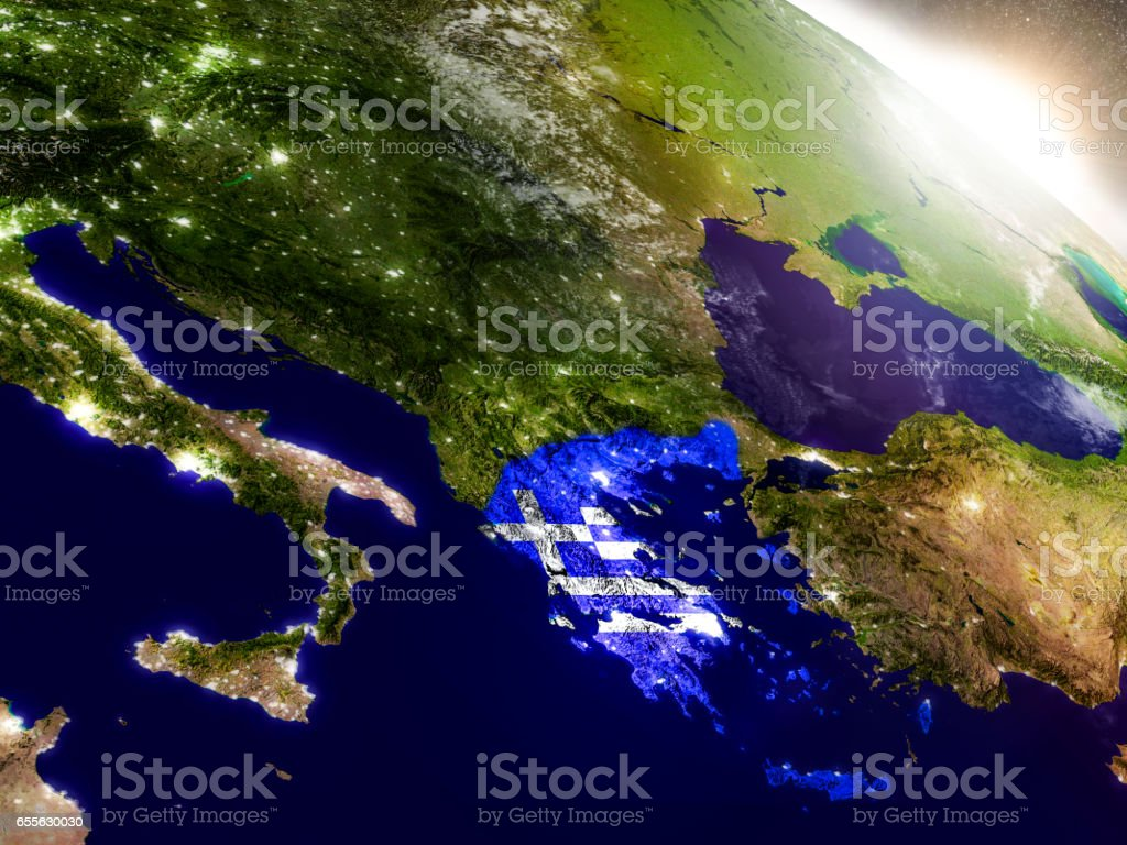 Greece with flag in rising sun stock photo
