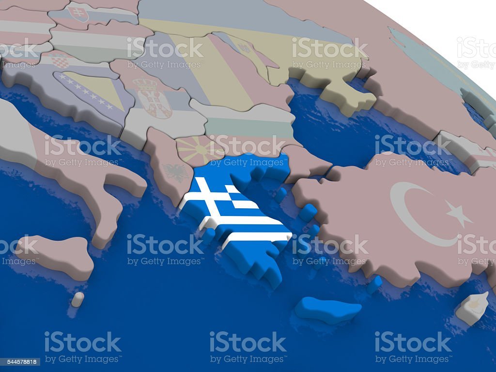 Greece with flag stock photo