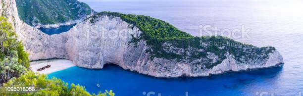 Photo of Greece, Zakynthos, XXL panorama of stunning shipwreck beach landscape aerial view