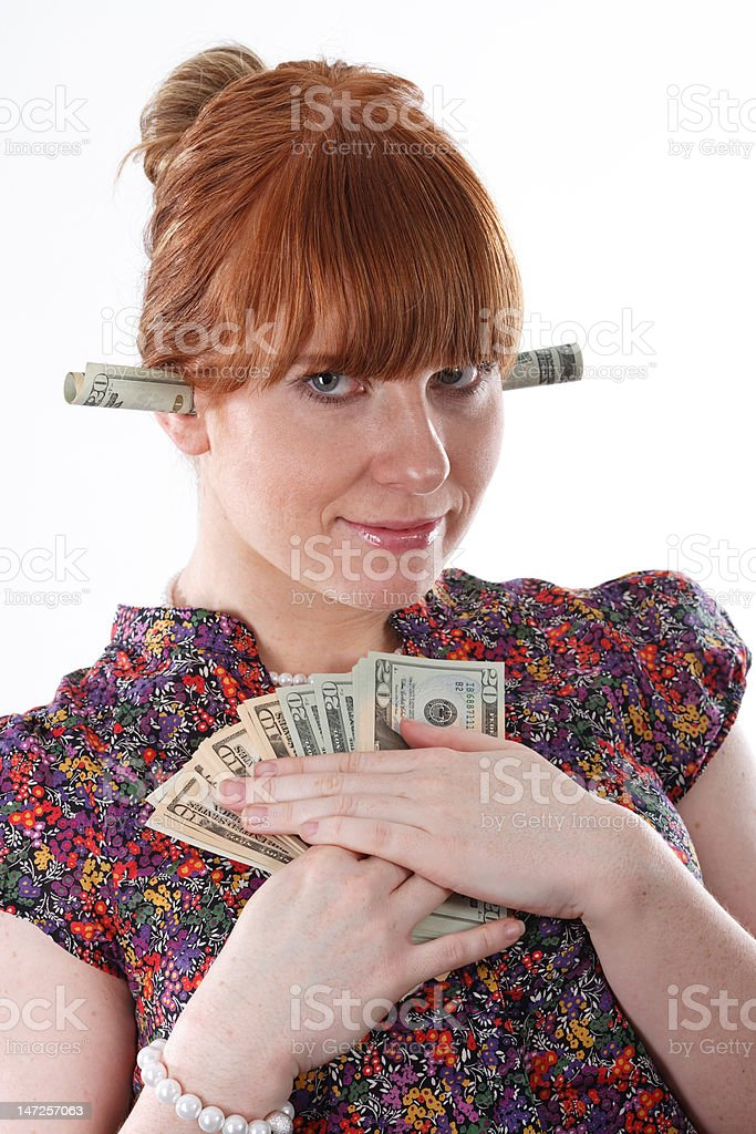 Greed for money stock photo