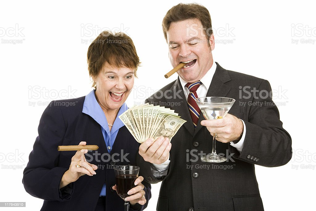 Greedy Business Partners stock photo
