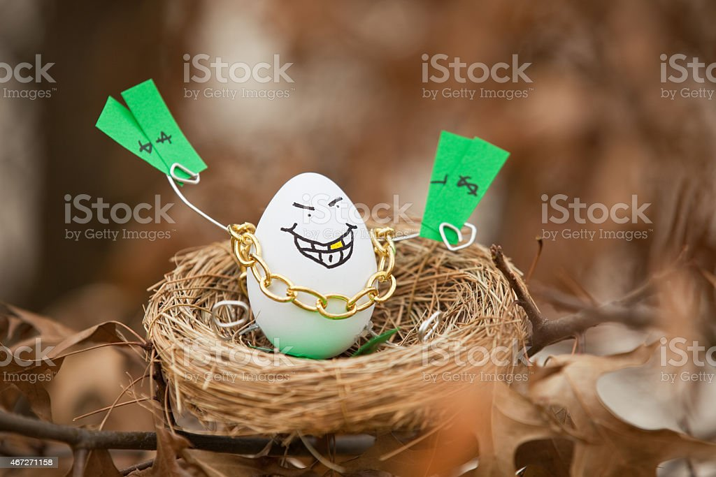 Greedy Nest Egg Sitting In A Tree stock photo