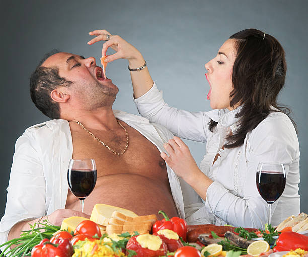 gourmands - funny fat lady stock photos and pictures