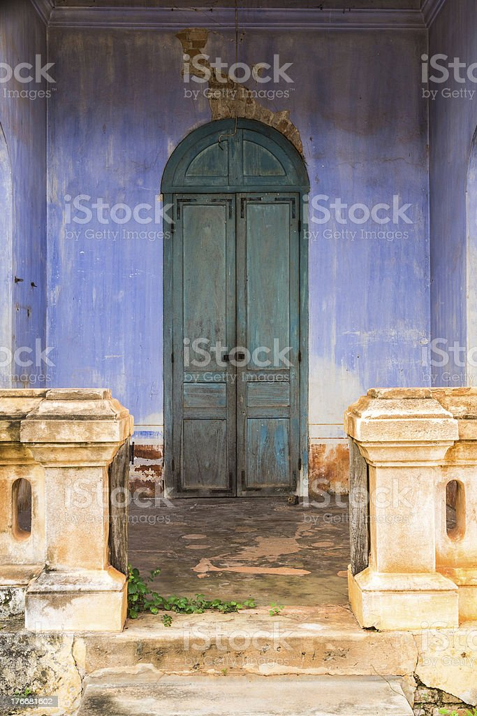 Greeh wooden back door to the house royalty-free stock photo