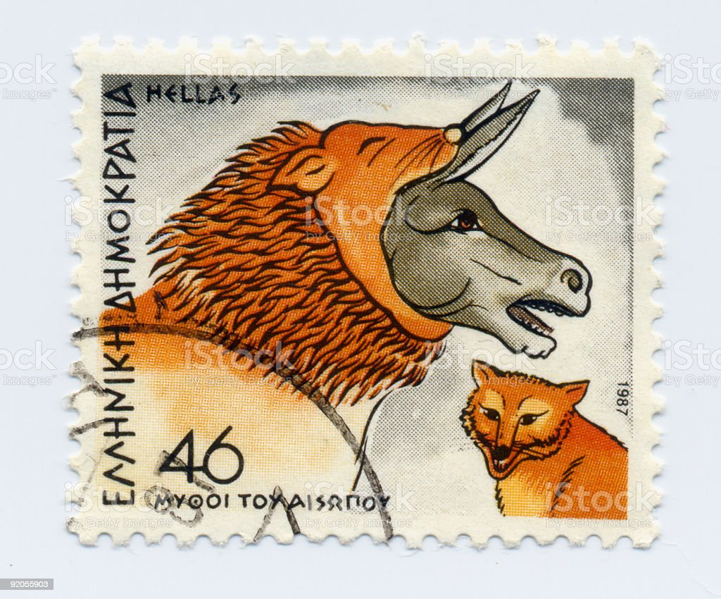 Greek Aesop's Fable Stamp stock photo