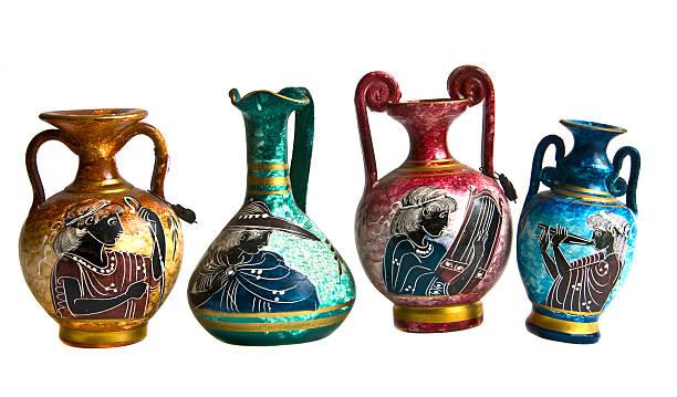 Greek amphoras stock photo