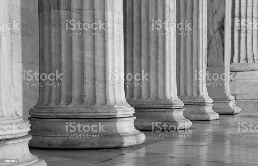 Greek ancient Columns in a row stock photo