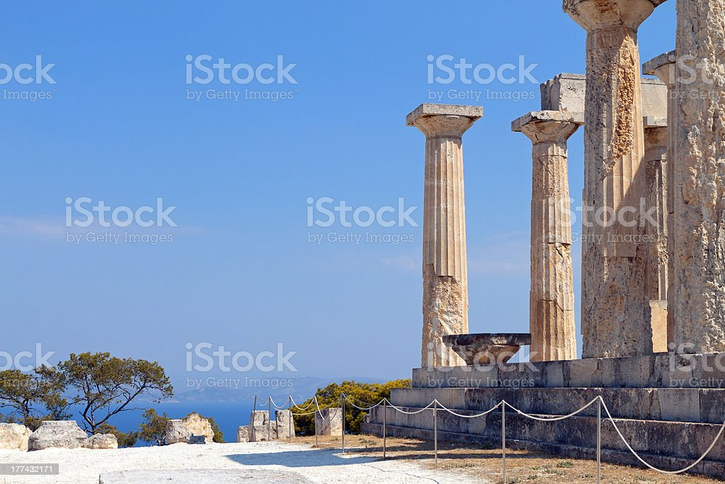 Greek ancient temple at Aegina island, Greece stock photo