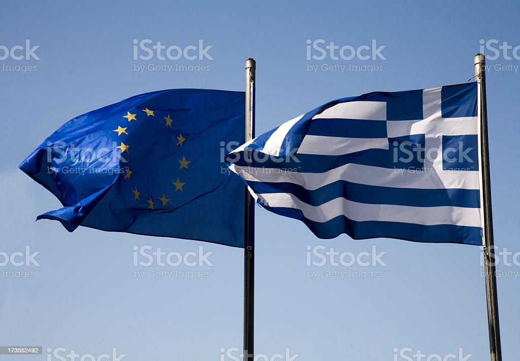 Greek and european EU flag stock photo