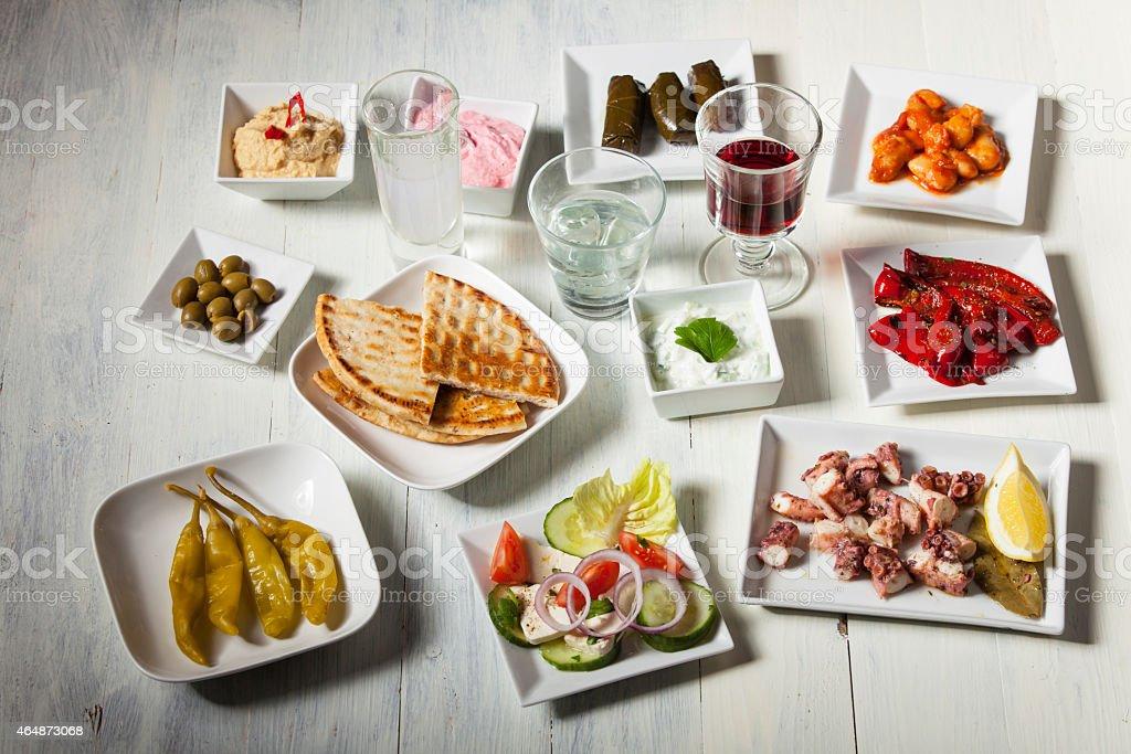 greek appetizers stock photo