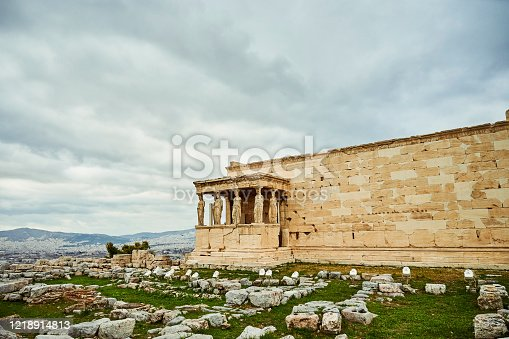 Cropped shot of the famous Erechtheion during the day while sight-seeing Athens, Greece
