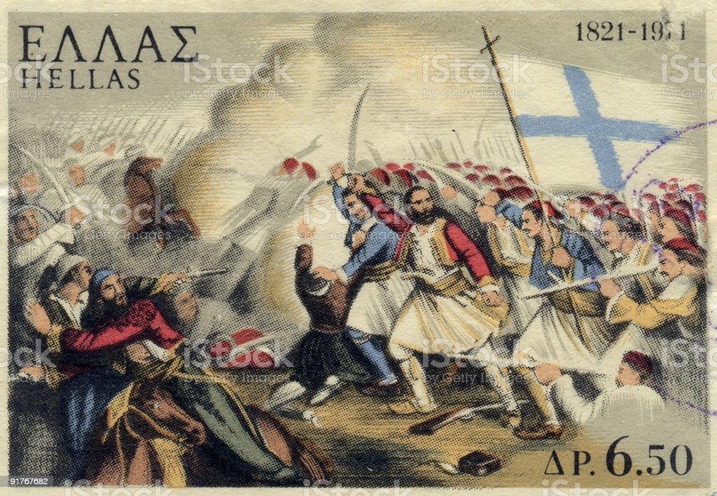 Greek Battle Stamp royalty-free stock photo