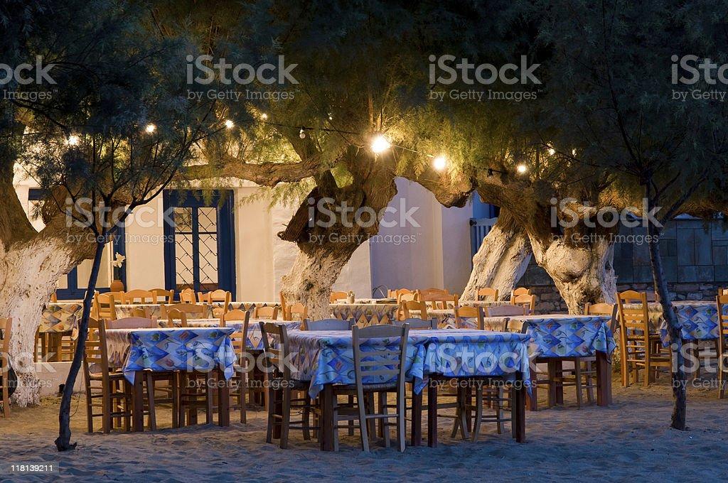 Greek beach taverna royalty-free stock photo