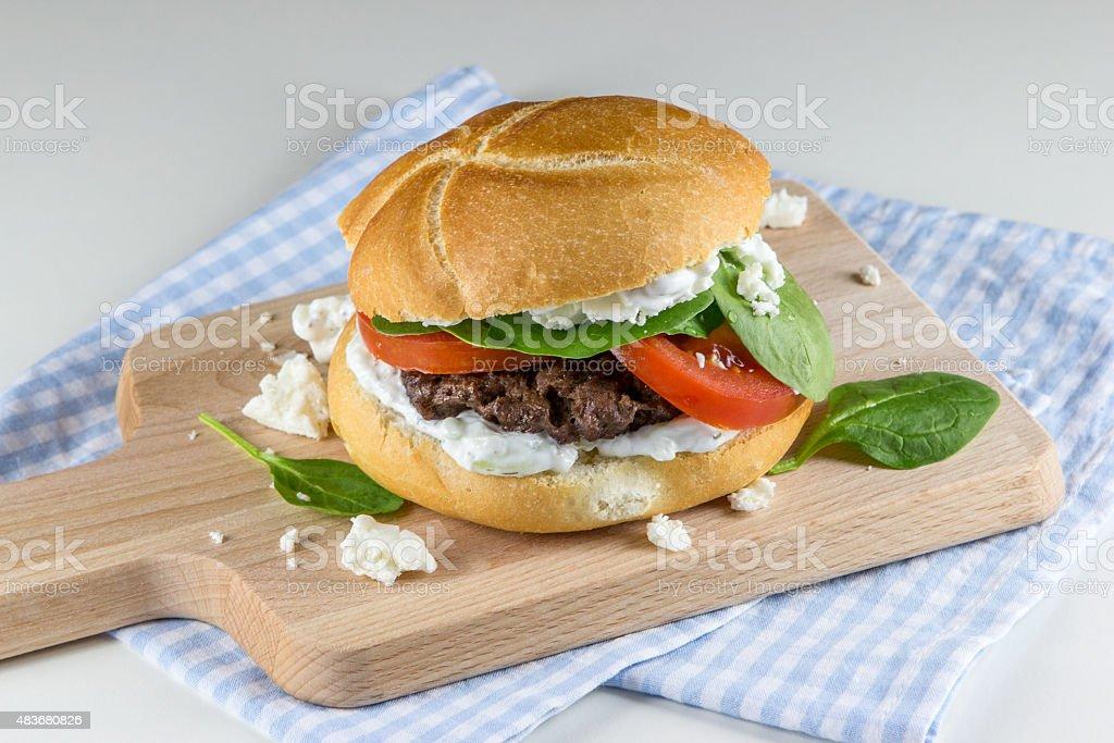 Greek burger stock photo