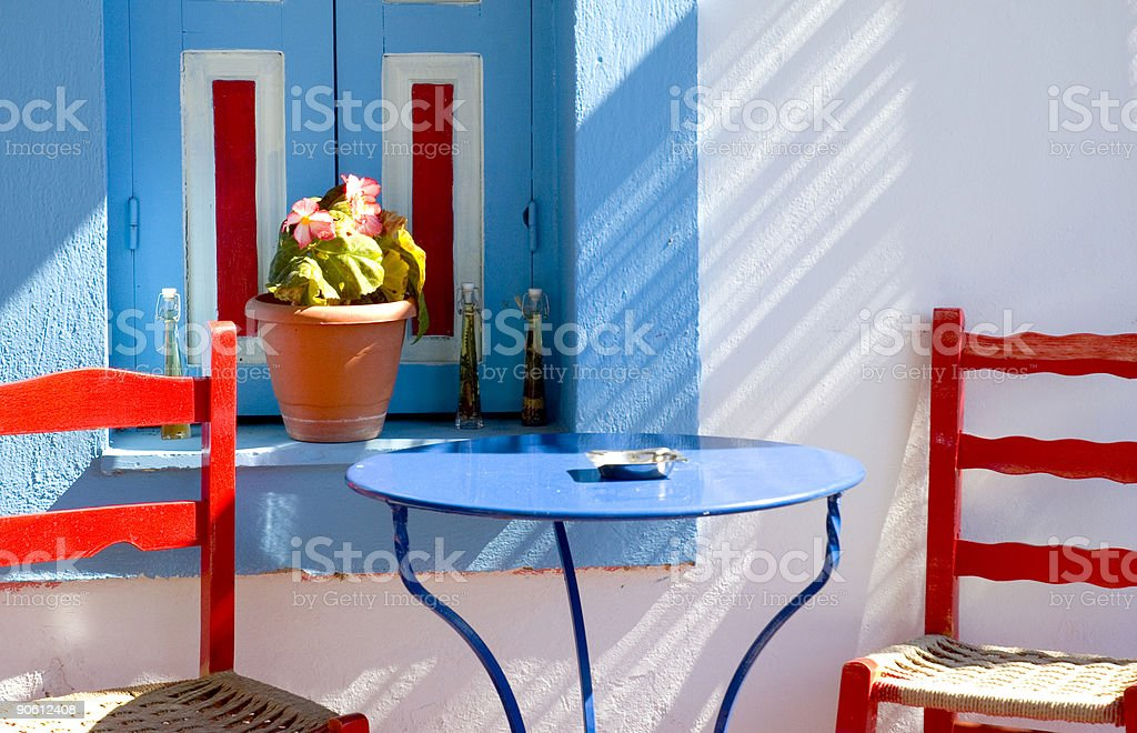 greek chairs royalty-free stock photo