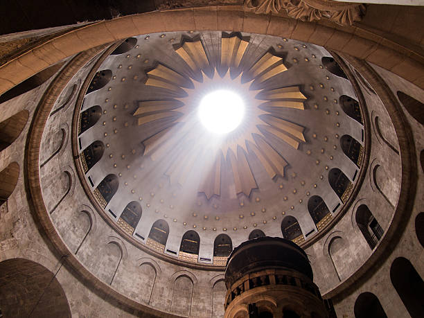 Greek Chapel of the Church of Holy Sepulchre in Jerusalem stock photo