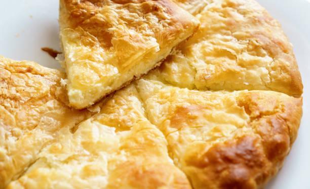 Greek cheese pie close-up stock photo