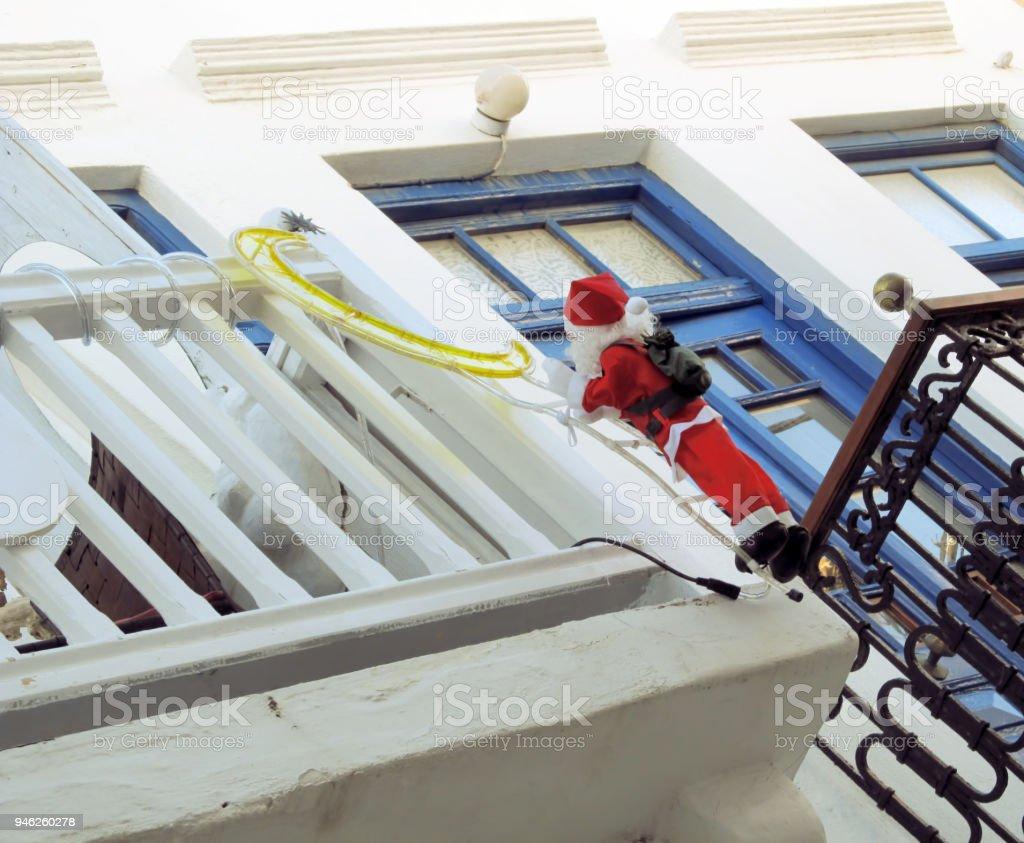 Greek Christmas in Mykonos Town stock photo