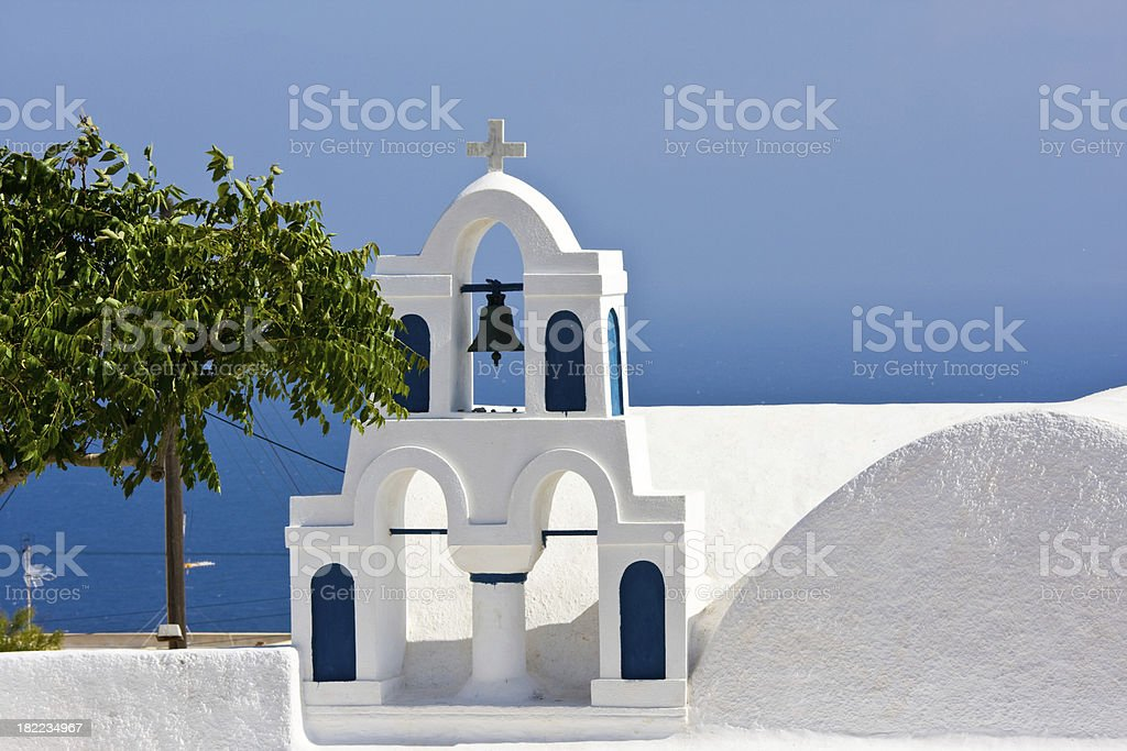 greek church bell tower and tree royalty-free stock photo