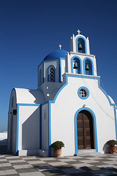 Greek Church on the island of Santorini stock photo