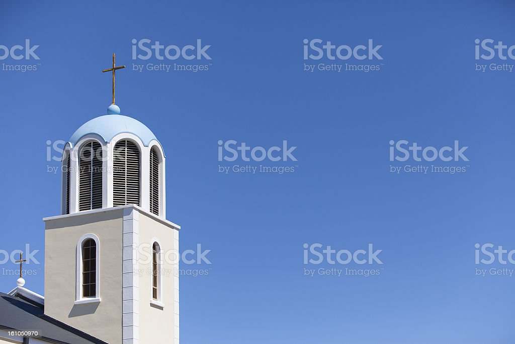 Greek Church with Crosses royalty-free stock photo