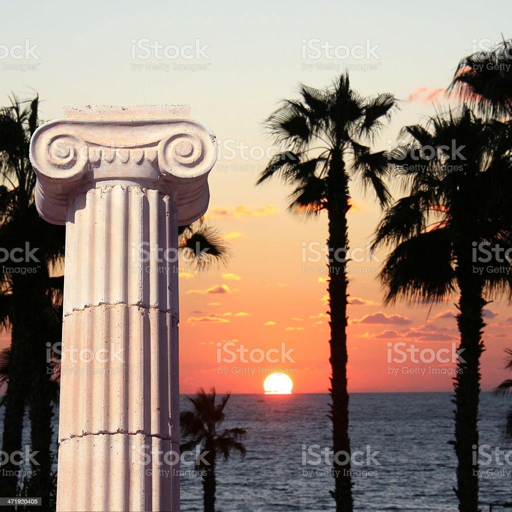 Greek column at sunset royalty-free stock photo