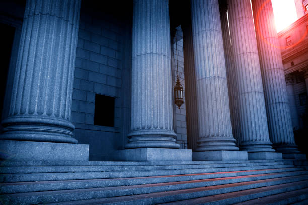 Greek Columns At A Courthouse In The Late Afternoon stock photo