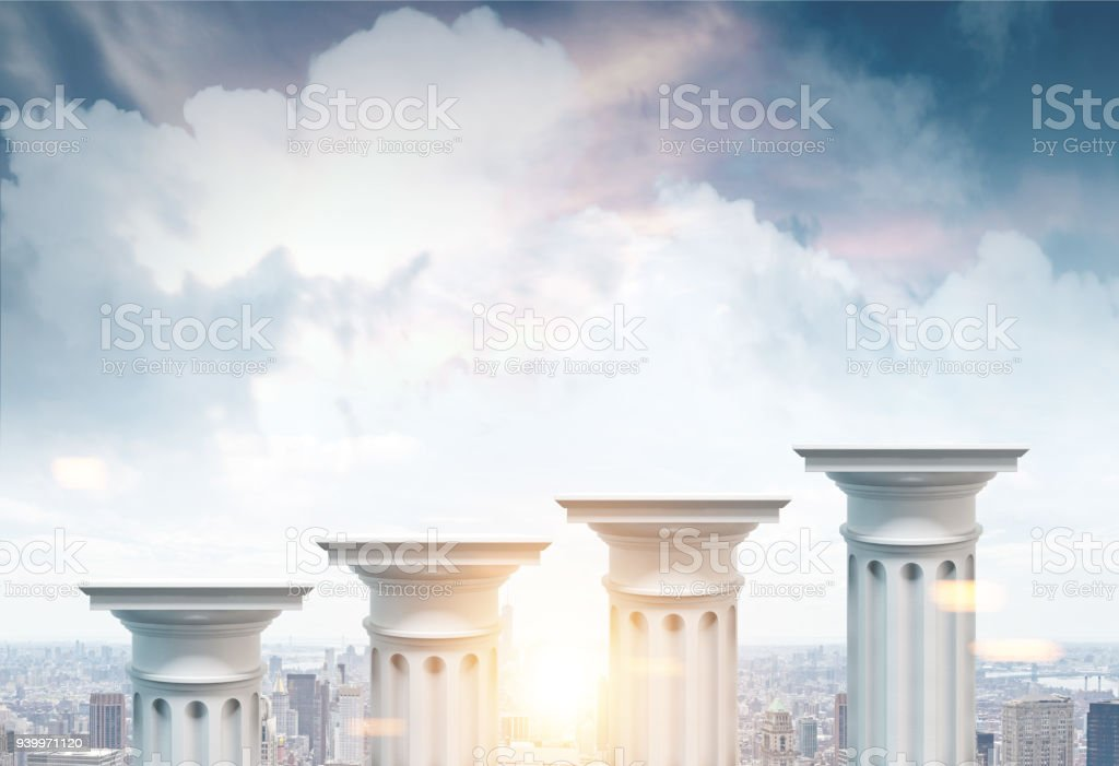 Greek columns, cityscape background stock photo