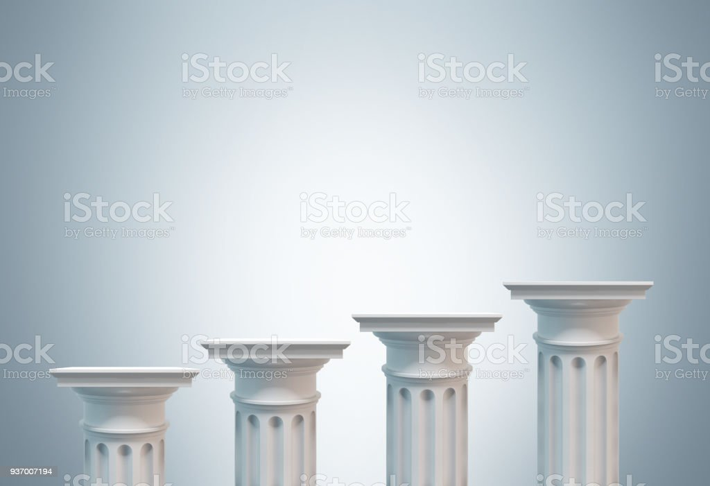 Greek columns, gray background stock photo
