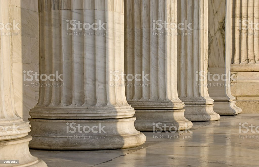 Greek Columns in a row stock photo