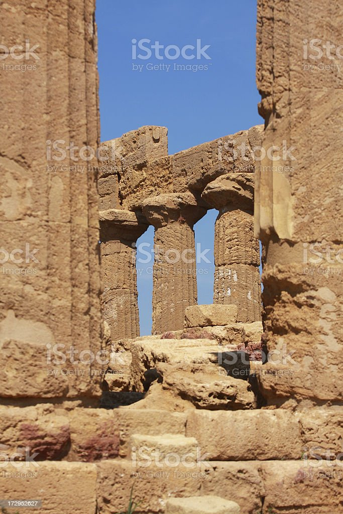 Greek columns in Agrigento's Valley of the Temples royalty-free stock photo