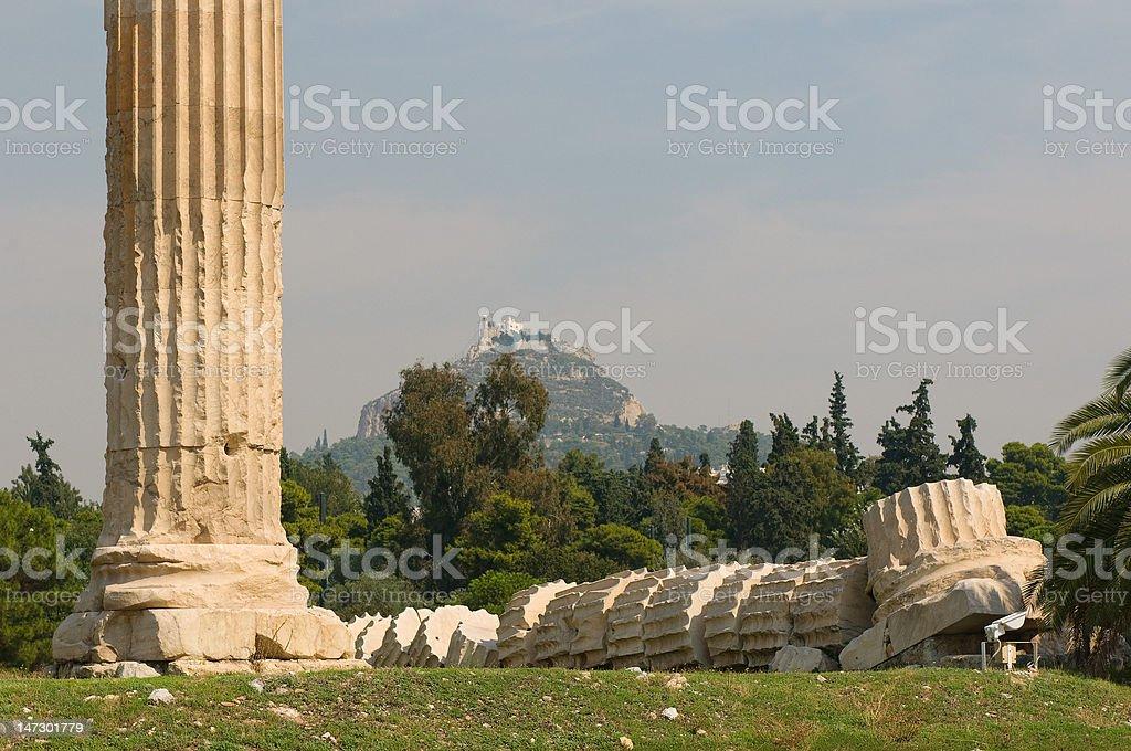 Greek columns, Temple of Olympian Zeus, Athens stock photo
