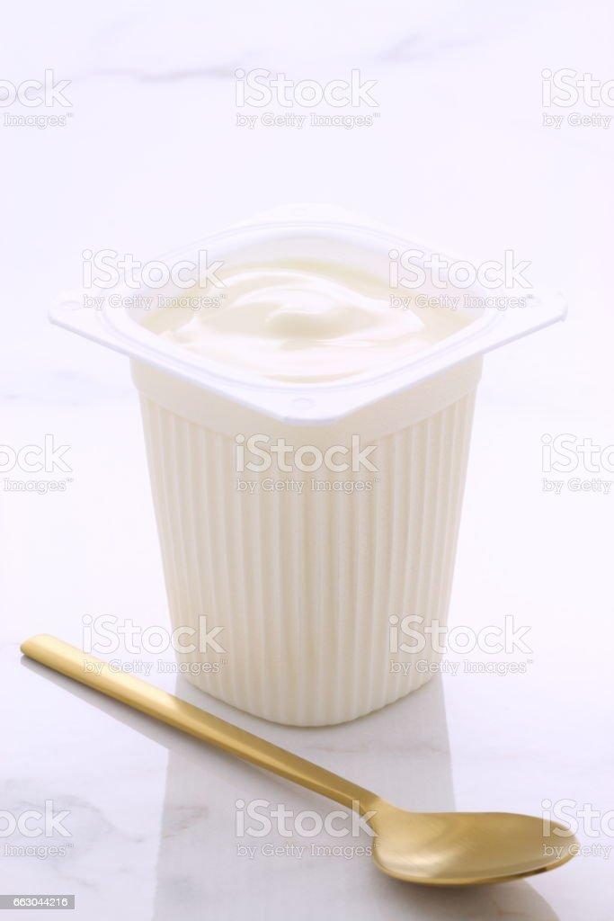 greek comercial yogurt stock photo