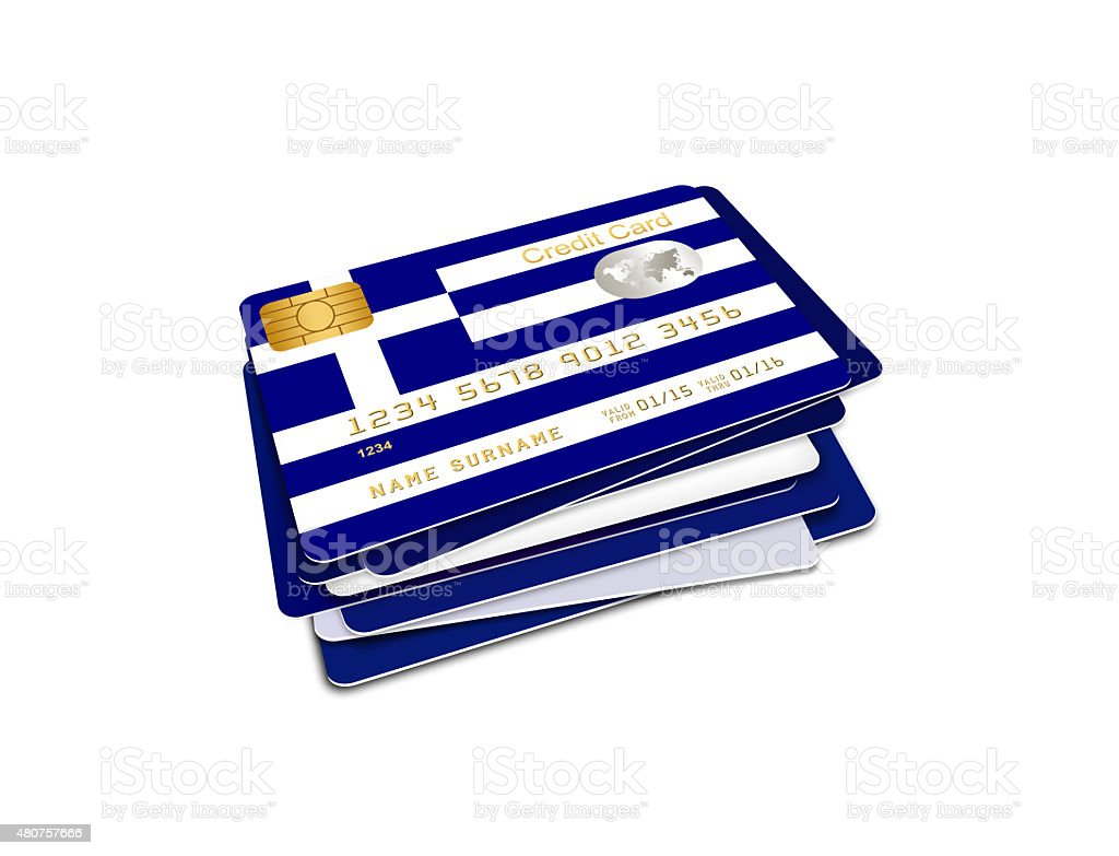 greek credit cards isolated over white stock photo