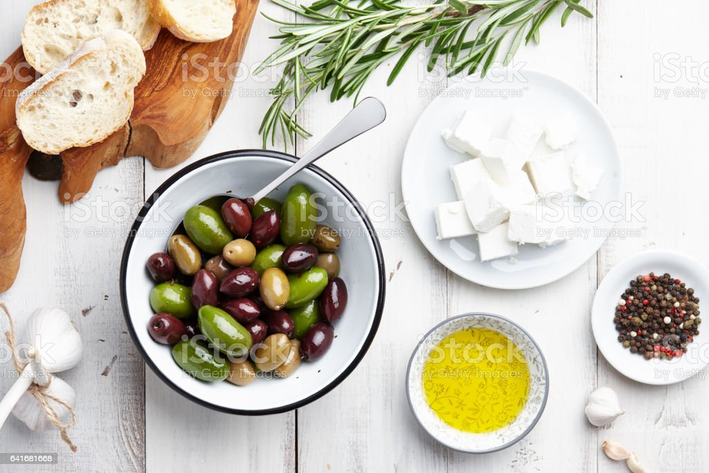 Greek cuisine ingredients stock photo