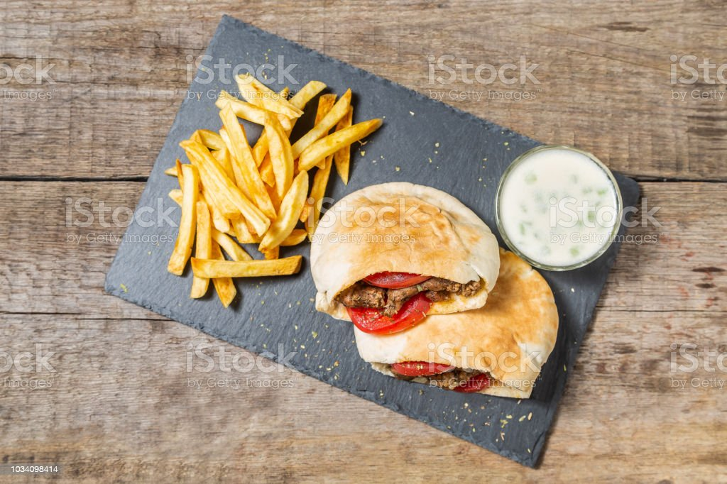 The national dish of the Greek cuisine gyros