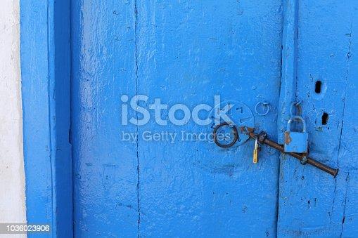 Beautiful part of traditional blue wooden door, Greece