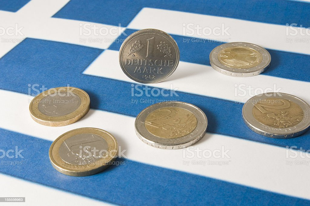 Greek euro crisis stock photo