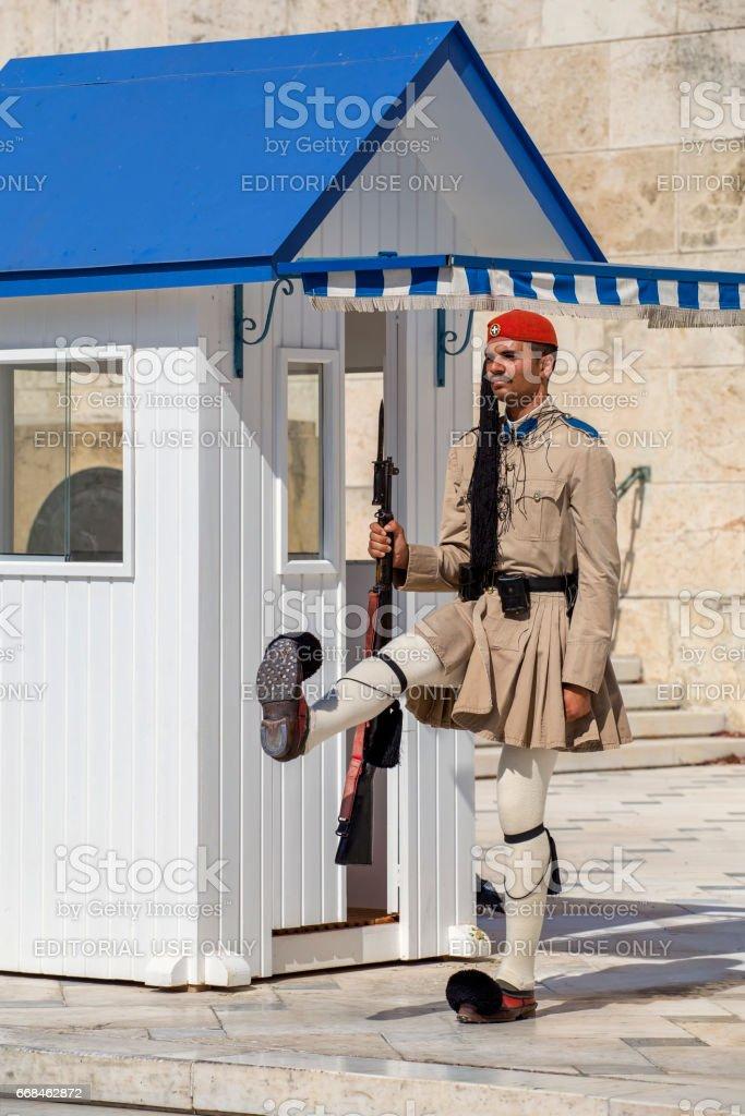 Greek evzone honor guard stock photo