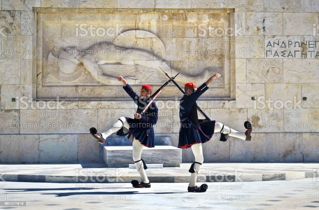 greek evzones, greek tsolias, guarding the presidential mansion in front of the tomb of the unknown soldier, army infantry stock photo