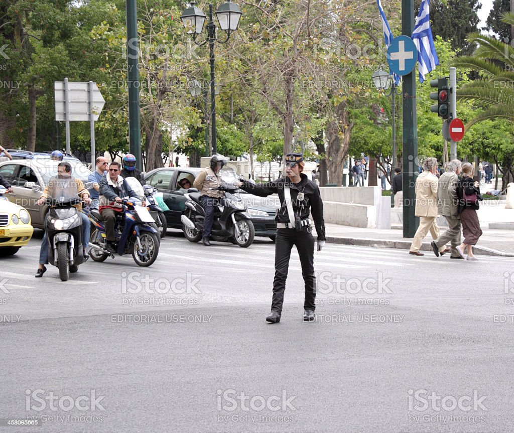 Greek Female Traffic Cop stock photo
